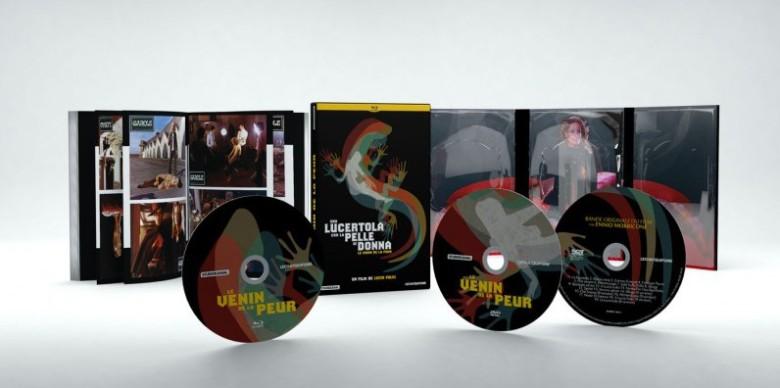 L'incroyable édition du VENIN DE LA PEUR de Lucio Fulci, avec le blu-ray, le DVD et un CD de la bande originale composée par Ennio Morricone.